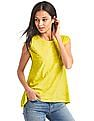 GAP Women Green Foil Print Cap Sleeve Tee