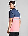 GAP Pink Short Sleeve Stripe Pique Polo Shirt In Stretch