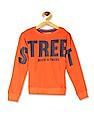 FM Boys Orange Boys Printed Crew Neck T-Shirt