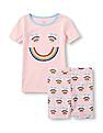 The Children's Place Girls Short Sleeve Rainbow Heart Graphic Top And Shorts PJ Set