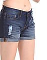 Aeropostale Blue Mid Rise Distressed Shorts