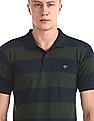 Ruggers Green And Navy Striped Regular Fit Polo Shirt