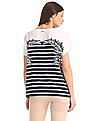 Nautica Easy Flutter Sleeve Palm Leaf Striped Print Top