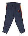 U.S. Polo Assn. Kids Blue Boys Contrast Taping Knit Joggers