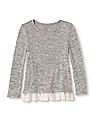 The Children's Place Girls Lace Hem Heathered Top