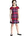 GAP Girls Red Plaid Fit And Flare Flannel Dress