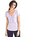 GAP Women Purple Vintage Wash V-Neck Tee