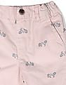 The Children's Place Pink Baby And Toddler Moto Print Woven Chino Shorts