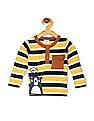 Donuts Yellow Boys Flap Pocket Striped Henley T-Shirt